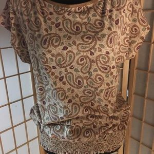 Ralph Lauren- tan/green/brown paisley top. Sz M👡